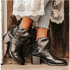 Winter Women Biker Ankle Boots PU Leather Wipe Color High Heel Lace Up Rubber Round Toe Black Platform Ladies Shoes Botas Mujer