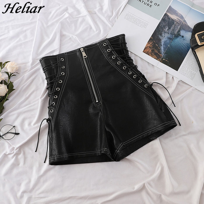 HELIAR Women Black Leather Shorts Cross Bandage Short Pants Fashion High Street Solid PU