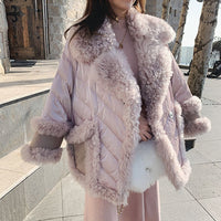 Elegant Pink Fur Collar Winter Jacket Women 2020 woolen lambswool Thicken Parkas Warm Down Cotton Winter Coat Long Parka MY42
