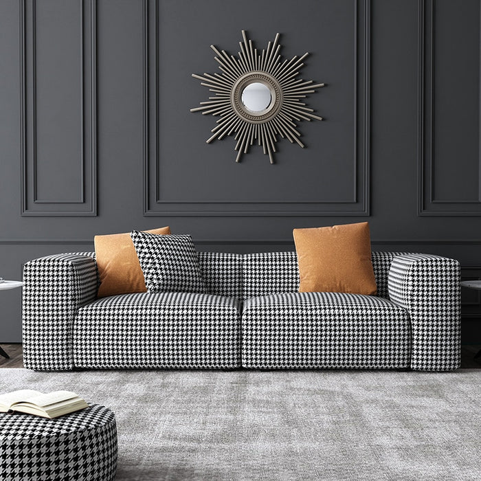 Fabric Sofa Living Room Outfit Combination Light Luxury Houndstooth Double Three Small