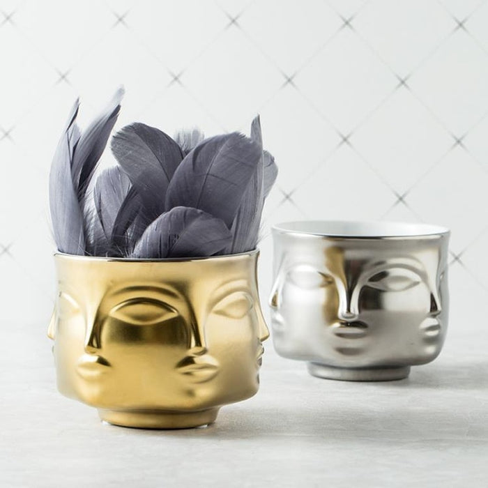 Ceramic Face Multi-sided Flower Pot Vase Flower Ware Home Decor Golden Sliver White Black