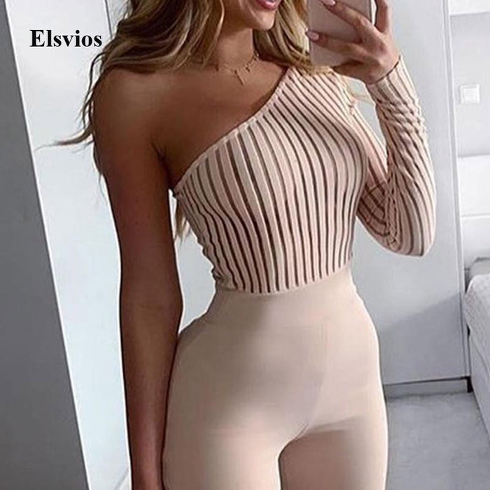 Sexy One Shoulder Slim Jumpsuit Overalls Elegant Long Sleeve Ribbed Knit Rompers Playsuit
