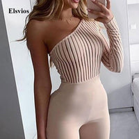 Sexy One Shoulder Slim Jumpsuit Overalls Elegant Long Sleeve Ribbed Knit Rompers Playsuit Women Backless Skinny Bodysuit Bodycon
