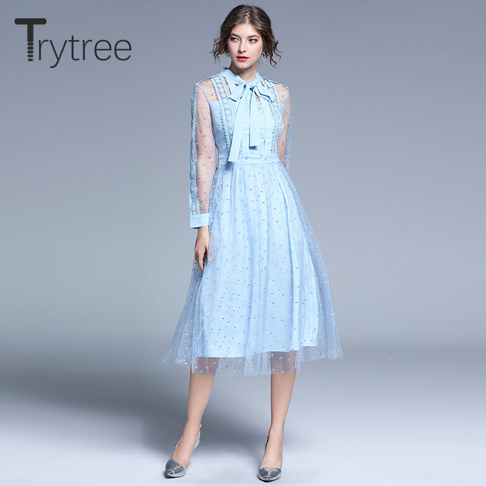 Trytree 2019 Autumn Women Casual Voile Dress Bow Empire Fashion Lace Patchwork