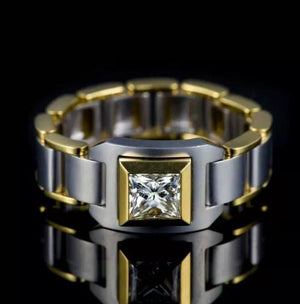 Luxury Male Chain Small Zircon Finger Ring Fashion Love Party Wedding Rings For Men Vintage Silver Gold Filled Double Color Ring