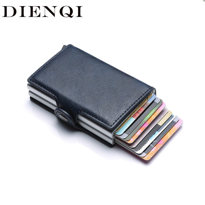 Rfid Blocking Protection Men id Credit Card Holder Wallet Leather Metal Aluminum Business \