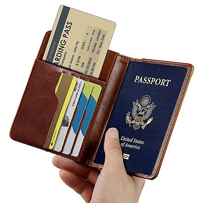 Travel Accessories Passport Holder Cover Vintage PU Leather Women Men RFID Business