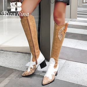 RIZABINA Plus Size 32-48 Wome Knee Boots Fashion Zipper Warm Fur Winter Shoes Women Patchwork Long Boots Lady High Heel Footwear