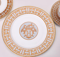 A Ceramic Dinner Plates Geometric Pattern Ceramic Dish  Charger Plate Yellow Grid Dinnerware