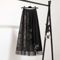 Black Mesh Long Tulle Skirts Women 2020 New Elegant A Line Female High Waist Pleat Midi Skirt Floral Print Summer Skirts Gothic