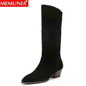 MEMUNIA Plus size 34-43 New women boots black square heel pointed toe mid calf boots ladies shoes fashion boots