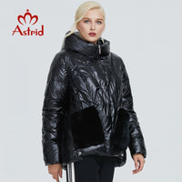 2019 Astrid winter jacket women black glossy fashion coat plush stitching large pocket design warm black women parka AR-9231
