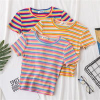 New T Shirt Women Rainbow Striped Tops Slim Fit t shirt Harajuku Tshirt Summer Short Sleeve Korean T-shirt feminina Clothes Tops