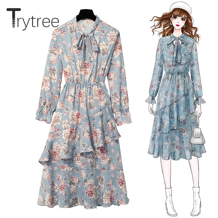 Trytree 2019 Autumn Women Casual Bow Collar Flare Sleeve Print Fashion A-line Ruffles
