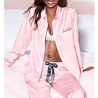 Silk Pijamas Women Striped Long Sleeves Sleepwear Set Satin Pajamas Pjs Loungewear Two Piees Summer Night Suit Home Clothes