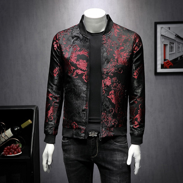 2019 Fall Paisely Floral Jacket Men Vintage Business Bomber Jacket Men Coat Windbreaker Clothes