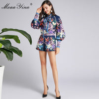 MoaaYina Fashion Designer Suit Spring Autumn Women Ribbon Lantern Sleeve Floral-Print Tops+shorts Elegant Two-piece set