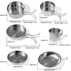 8Pcs/set Ultra-light Stainless Steel Outdoor Picnic Pot Pan Kit Outdoor Camping Hiking  Mini Cookware Bowl Cup Cover Cooking Set