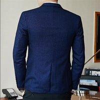 Spring Men's Plaid Blazer Fashion Business Casual Men's Slim Suit Jacket Large Size Casual Banquet Wedding Party Club Dress 5XL