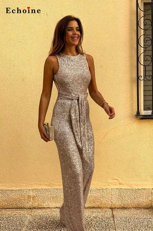 Women Waist Tie Sleeveless Sexy Sequin Jumpsuit O-Neck Bling Hollow-Out Back Long Wide Leg Pants  Modern Lady Streetwear Rompers