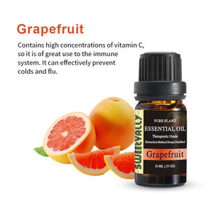 Sweetvally Natural Aromatherapy Essential Oil Kit Grapefruit 10ml For Humidifier Fragrance Oil Fresh Air Essential Oil