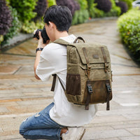 Batik Canvas Photography Camera Backpack Tripod Bag Padded Water-resistant Lens Case for Nikon/Canon/Sony SLR Camera Accessories