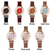 WJ-8911 Luxury Creative Rotating Gold Dial Women Watches Fashion Magnetic Watch For Female Simple Letter Quartz Wristwatch reloj