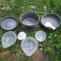 8 pcs Portable Outdoor Camping Pan Pot Set Camping Picnic Barbecue Small Pot Cookware Accessories