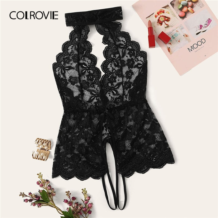 COLROVIE Black Floral Lace Scalloped Trim Cut-out Teddy Bodysuit Women 2019 New Stretchy