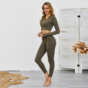 Ensemble Female Yoga Set Zipper Thumb Hole Fitness Tracksuit Sexy Women Sportswear Workout Gym Wear Running Clothes Sport Suit