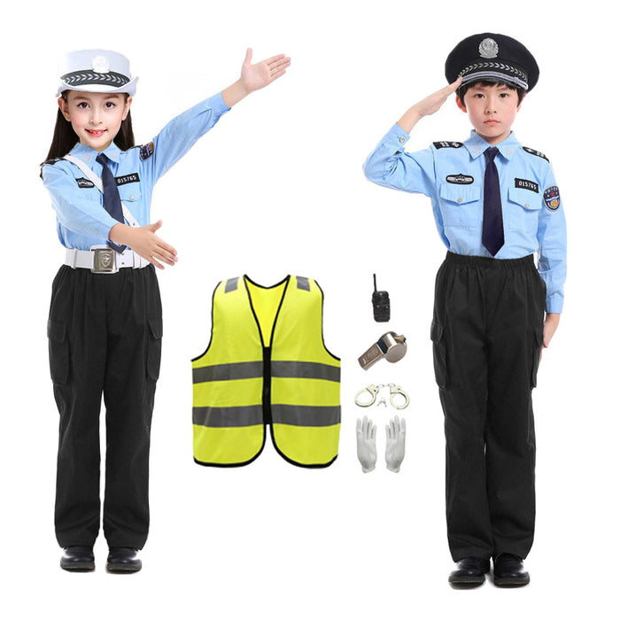 2020 Children's Day Carnival Party Cosplay Costumes Teenager Traffic Policeman Uniform Set
