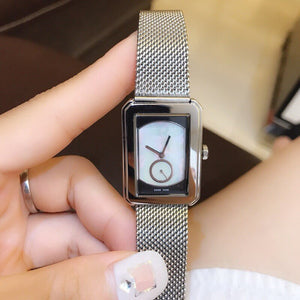 Luxury Brand crystal boy friend Watch nature white grey shell Quartz Wrist watch Women girls rectangle stainless steel band