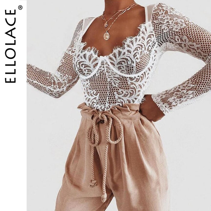 Ellolace Sexy Lace Bodysuit Women Deep-v Long Sleeve Rompers Bodycon Bodys Summer
