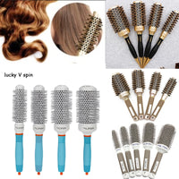 Hot Selling 4  set differen Durable Ceramic Iron aluminium tube gold Round Comb Hair Dressing Brush Salon Styling Barrel