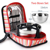 Outdoor Stainless Steel Tableware Camping Cutlery Foldable Chopsticks Spoon Bowls Picnic
