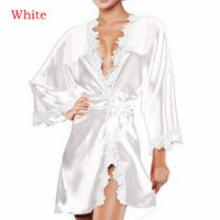 Women Sexy Bridesmaid Nightwear Wedding Dressing Gown Lace Silk Kimono Bathrobe