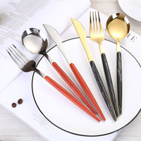 KitchenAce Stainless Steel Dinnerware Cutlery Set Kitchen Tableware Gadgets Golden & Silvery Fork Spoon Knife Set Kitchen Gadget