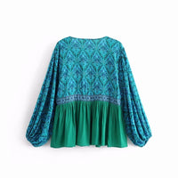 Happie chic women bohemian green floral printed deep v-neck Boho rayon blouse shirts batwing sleeve shirts female blusas