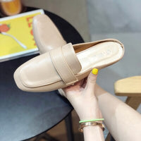 SLHJC 2020 New Fashion Square Toe Mules Slippers Women Spring Summer Fashion