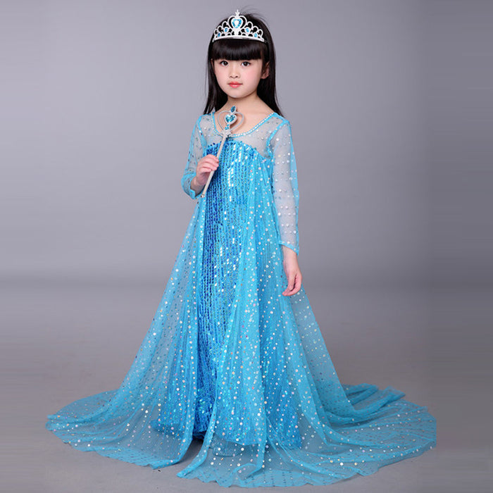 Disney Frozen Kids Dresses for Girls Elsa Costume Blue Princess Dress Halloween Christmas Party