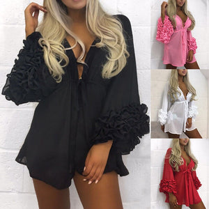 Fashion Hot Sale Women Long Puff Sleeve Cover up Summer Dress Women Sexy Beach Dress Swimwear Mesh Sundress Tunic Robe