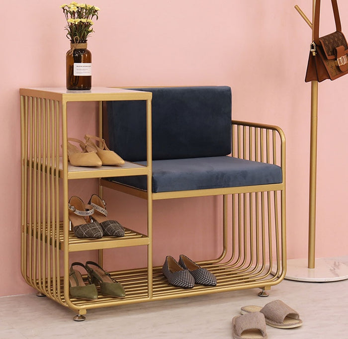 Creative Shoe Bench with 4 Layer Shoe Rack Backrest Chairs Combination Seatable