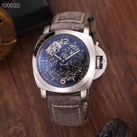 Luxury Brand New Men Automatic Mechanical Stainless Steel GMT Watches Silver Brown Black Leather Tourbillon Skeleton Luminous