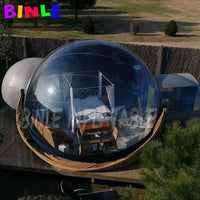 2rooms+1tunnel inflatable bubble tent transparent igloo dome camping tent couples double singular hotels with 2 blowers