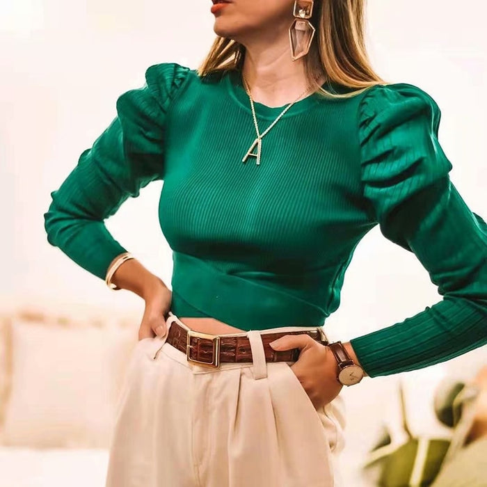 Green women puff sleeve bomb sweaters 2019 fashion ladies elegant knitted sweater
