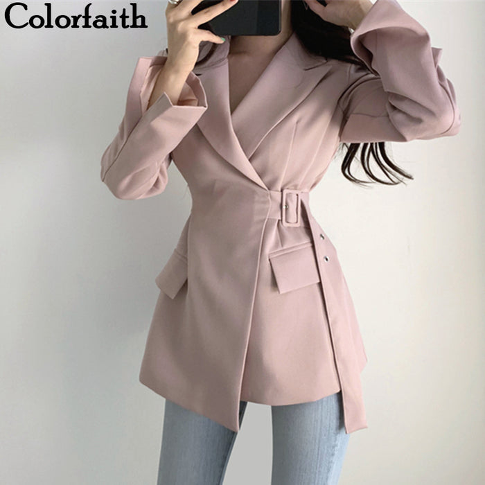 Colorfaith New 2019 Autumn Winter Women Jackets Office Ladies Lace up Formal Outwear