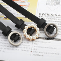 female Thin PU Leather Belt Single Buckle Side Gold Buckle Belt Wild Fashion Simple Round Pin Buckle Belts