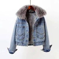 Peiqilp Winter Coat Women Plus Size Thick Velvet Faux Fox Fur Fur Collar Parka Loose Short Tops Denim Jacket Female Coat PQLP01