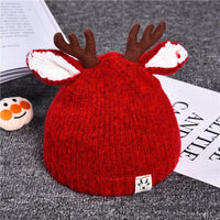 Christmas Knitted Hat Baby Elk Ears Beanie Cap Toddler Winter Warm Hat Christmas Photography Props