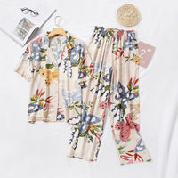 Short-sleeved Pajamas Set for Women Short-sleeved Tops with Shorts Home Clothes Floral Print Pajamas Women Clothes 2020